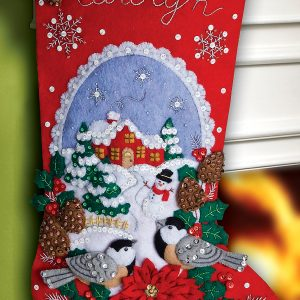 "86326 Chickadees 18"" Bucilla Felt Christmas Stocking Kit"
