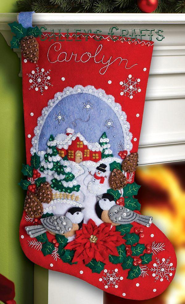 "86326 Chickadees 18"" Bucilla Felt Christmas Stocking Kit"