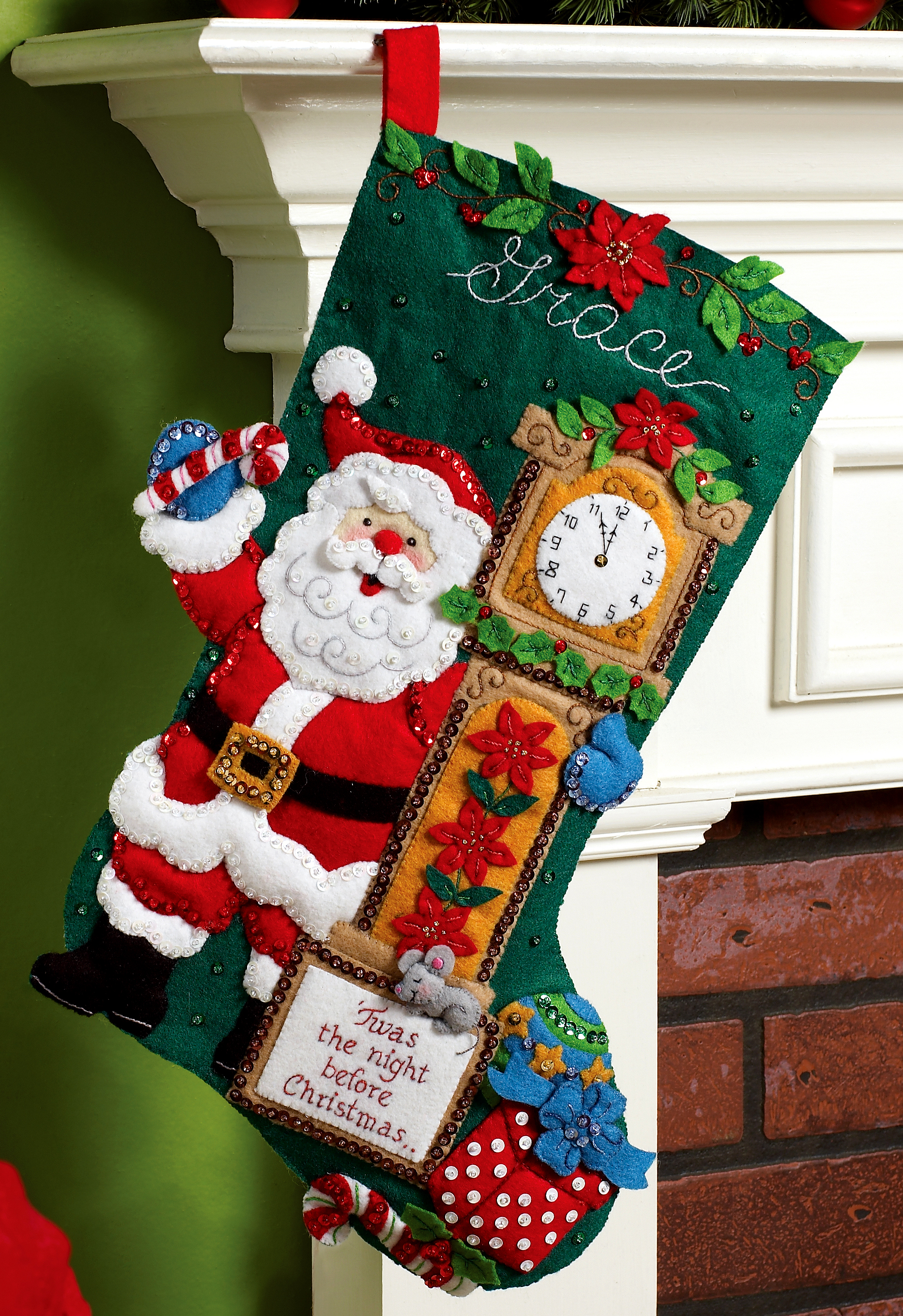 Twas The Night 18 Bucilla Felt Christmas Stocking Kit