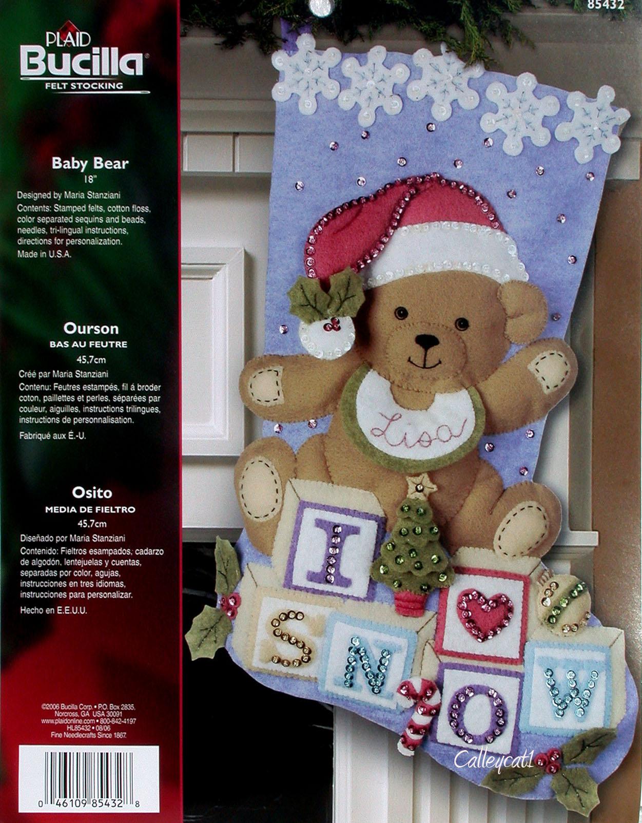 bucilla baby bear 18 felt christmas stocking
