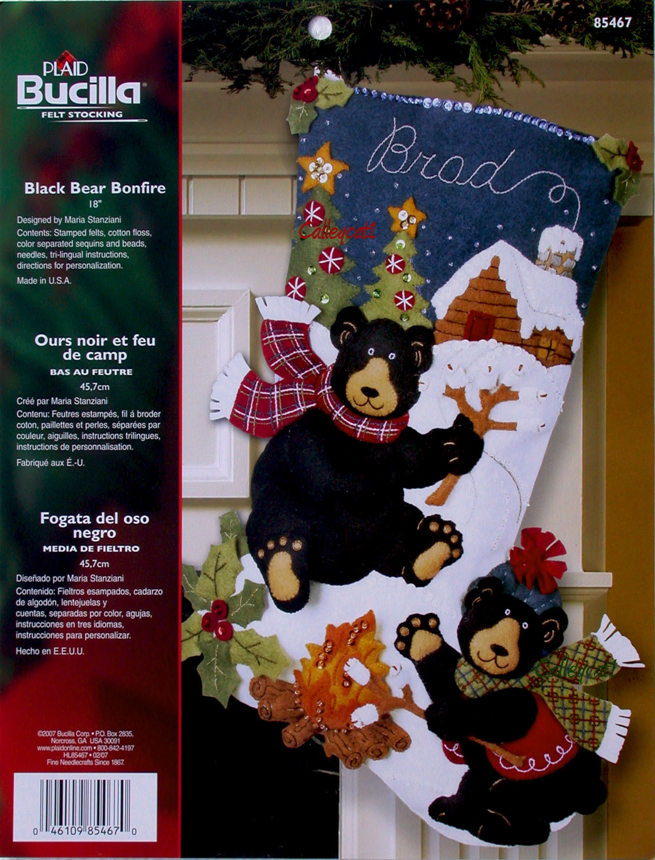 Bear Christmas Stocking.Black Bear Bonfire 18 Bucilla Felt Christmas Stocking Kit 85467