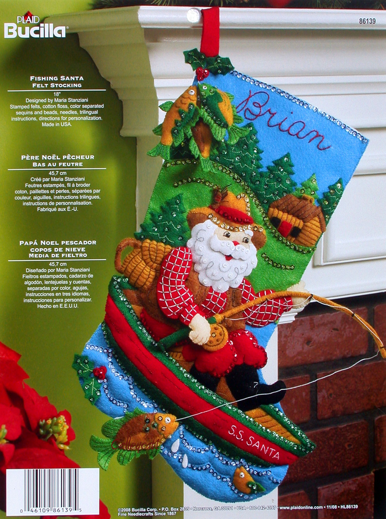 Fishing santa 18 bucilla felt christmas stocking kit for Fish christmas stocking