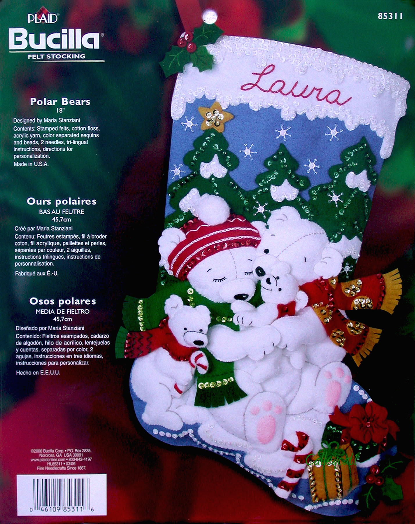 Bear Christmas Stocking.Polar Bears 18 Bucilla Felt Christmas Stocking Kit 85311