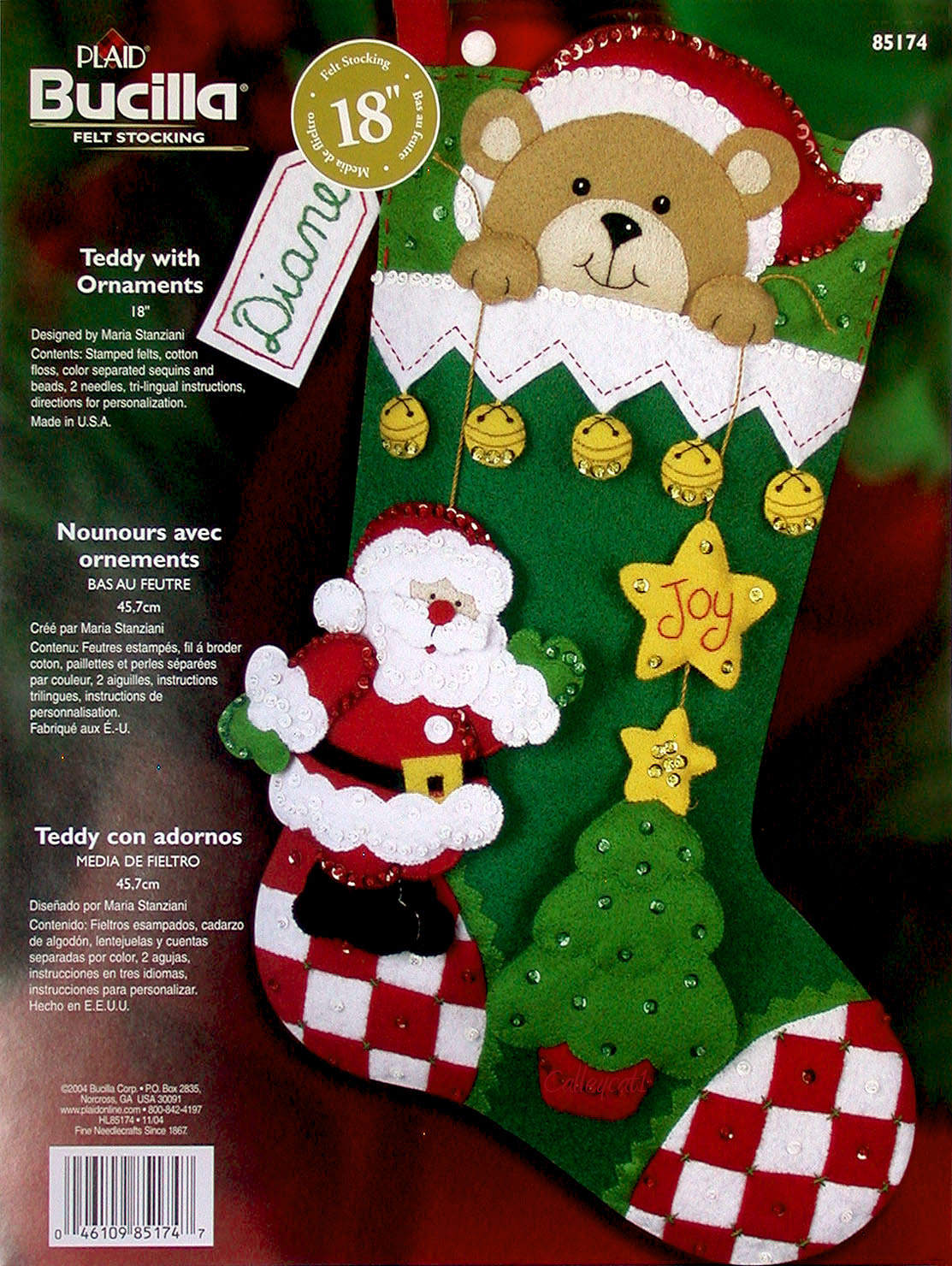 Christmas felt ornaments - Bucilla Teddy With Ornaments 18 Felt Christmas