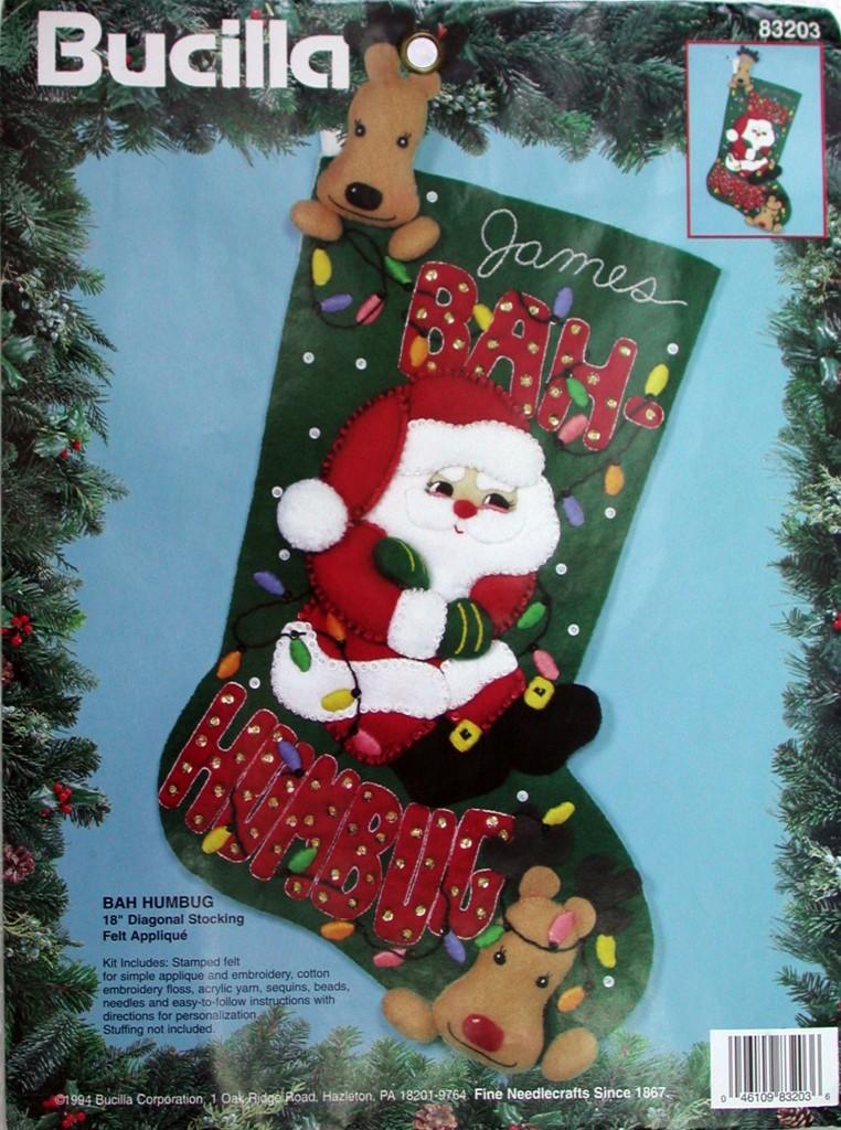 Bah Humbug 18 Quot Bucilla Felt Christmas Stocking Kit 83203