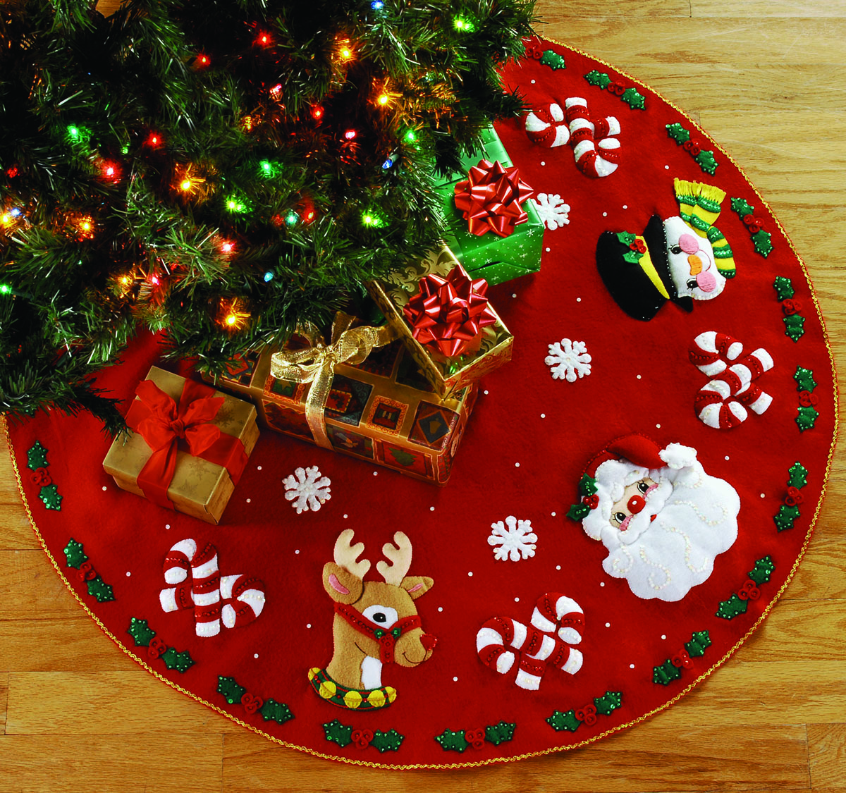 Santa friends quot bucilla felt christmas tree skirt kit