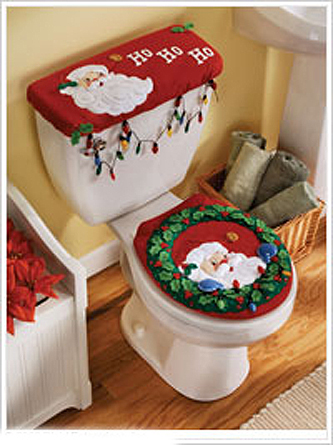 Peek a boo santa bucilla felt christmas bathroom ensemble for Bathroom xmas decor