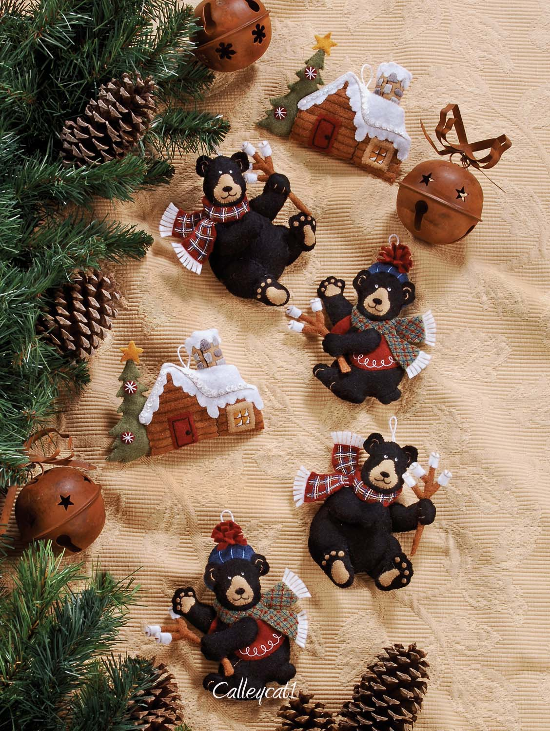 black bear bonfire bucilla felt ornament kit 85460 - Christmas Decoration Kits