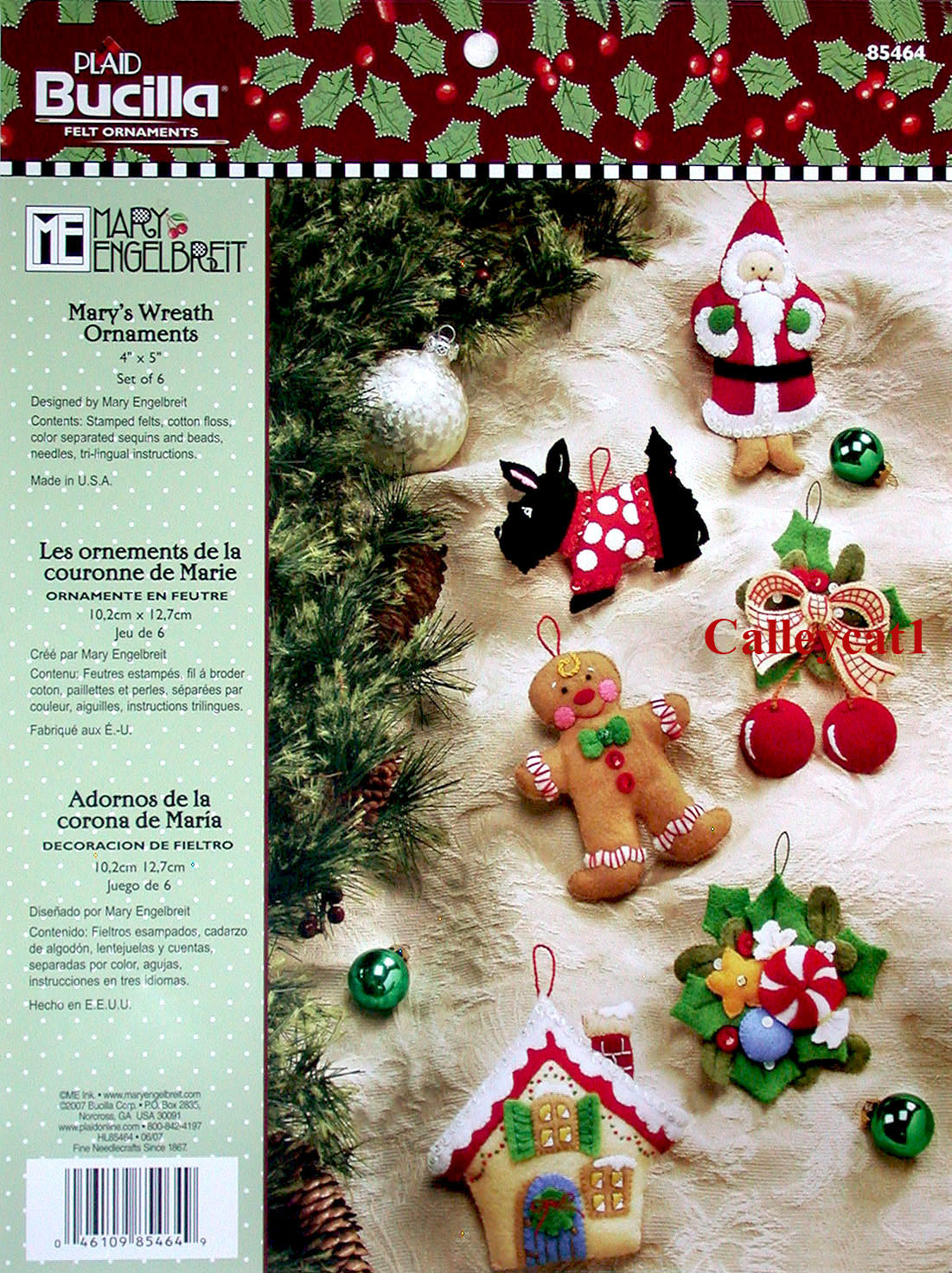 bucilla marys wreath 6 piece felt christmas ornament kit