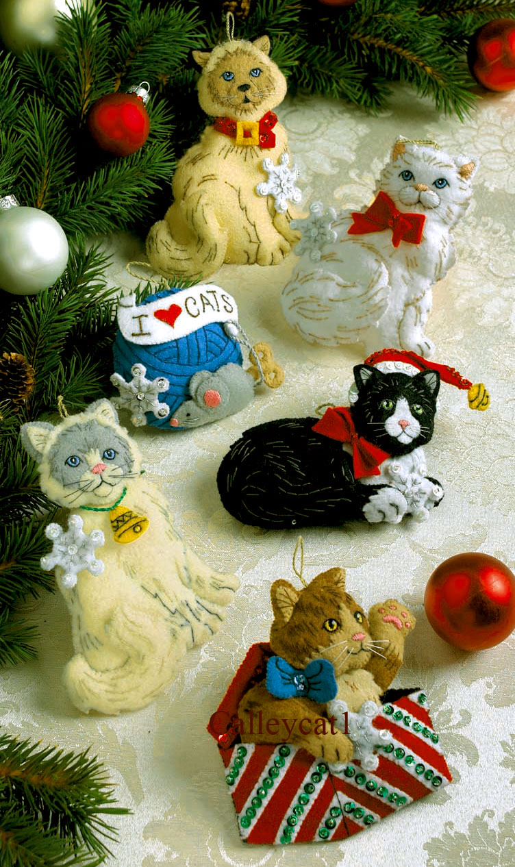 bucilla christmas kitties felt christmas ornament kit