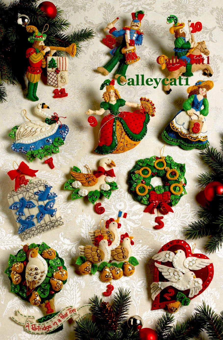 12 days of christmas bucilla felt ornament kit 86066 - Christmas Tree Decorating Ensemble Kits