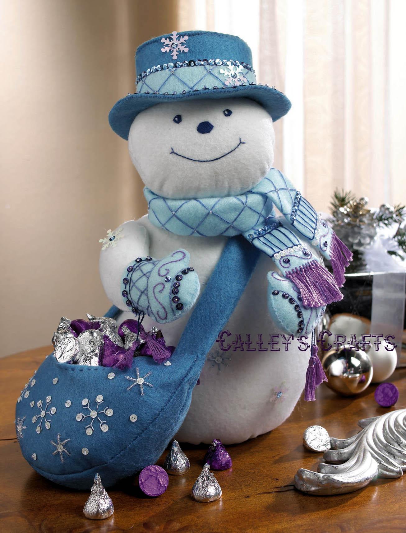 snowflake snowman bucilla felt christmas 3d home decor kit