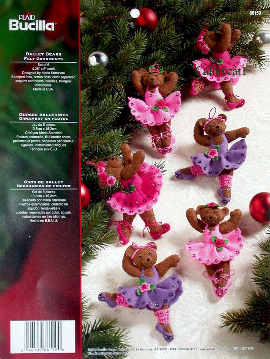 ballet bears bucilla felt ornament kit 86150 - Christmas Tree Decoration Kits