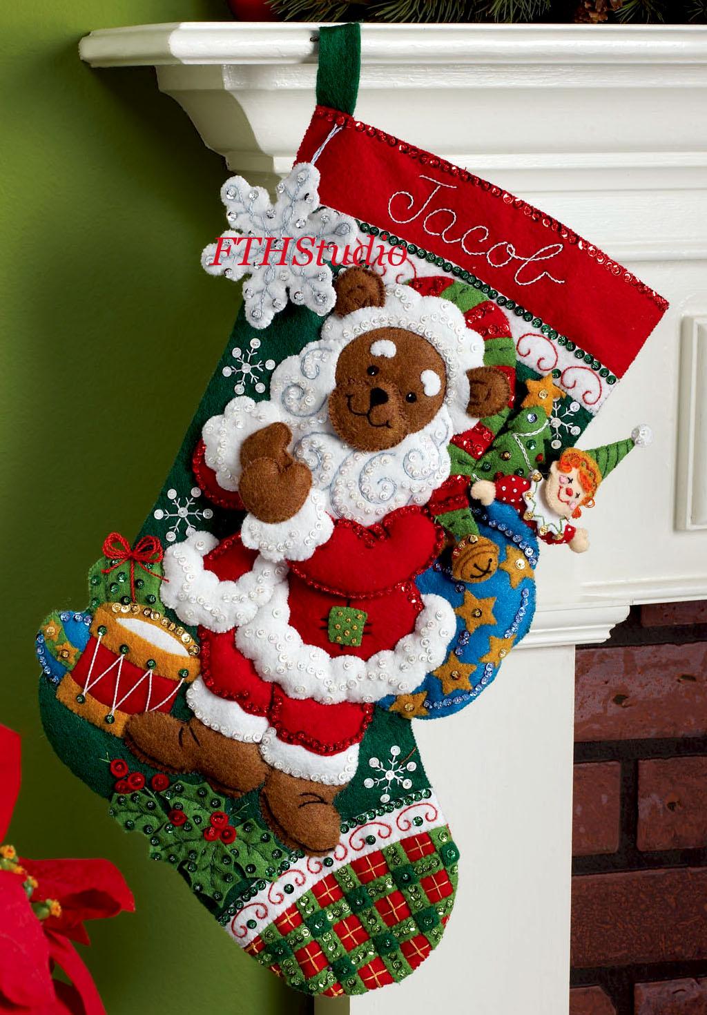 Bear Christmas Stocking.Santa Bear 18 Bucilla Felt Christmas Stocking Kit 86208