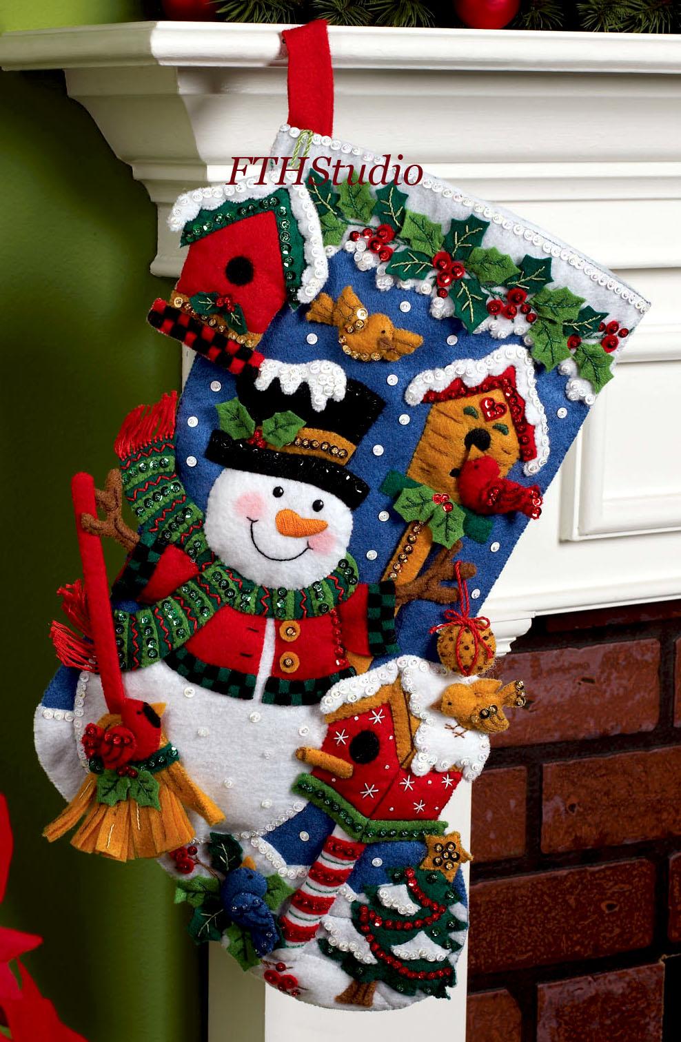 Snowman With Birds 18 Quot Bucilla Felt Christmas Stocking Kit