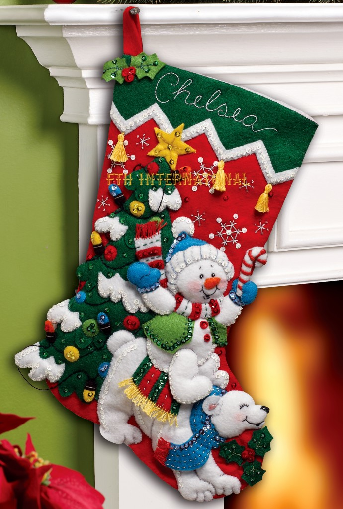 Snowman Amp Polar Bear 18 Quot Bucilla Felt Christmas Stocking