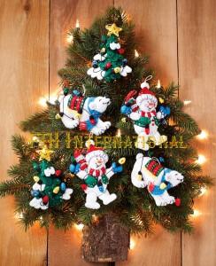 86365 snowman polarbear ornCFwm0