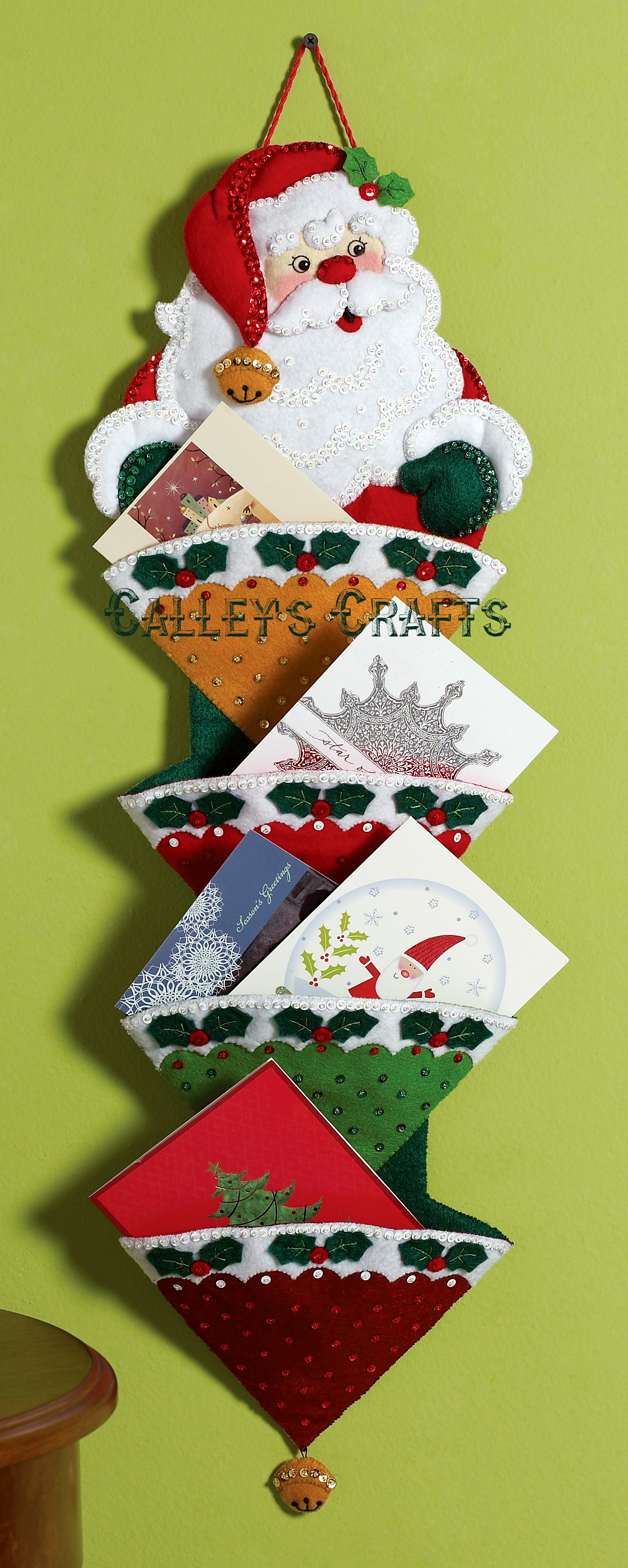 Holly Jolly Santa Bucilla Greeting Card Holder Felt Christmas Wall