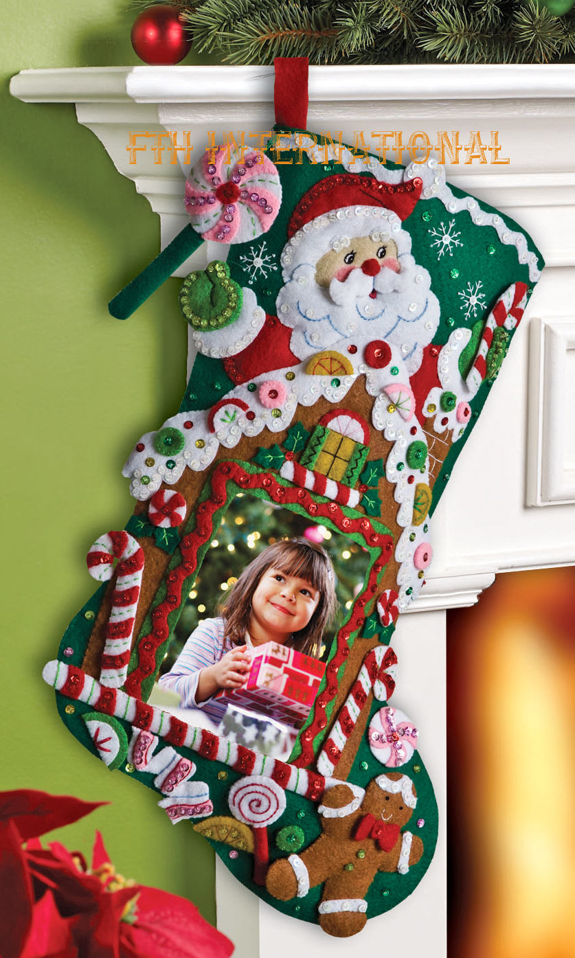 Gingerbread Picture Frame 18 Bucilla Felt Christmas Stocking Kit