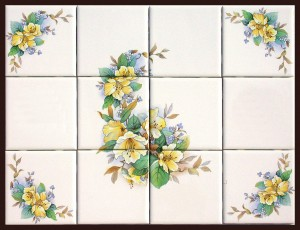 F43CFGarland & CornersF B13 E689Y Yellow Flower Mural & Accent Tiles 4 5272