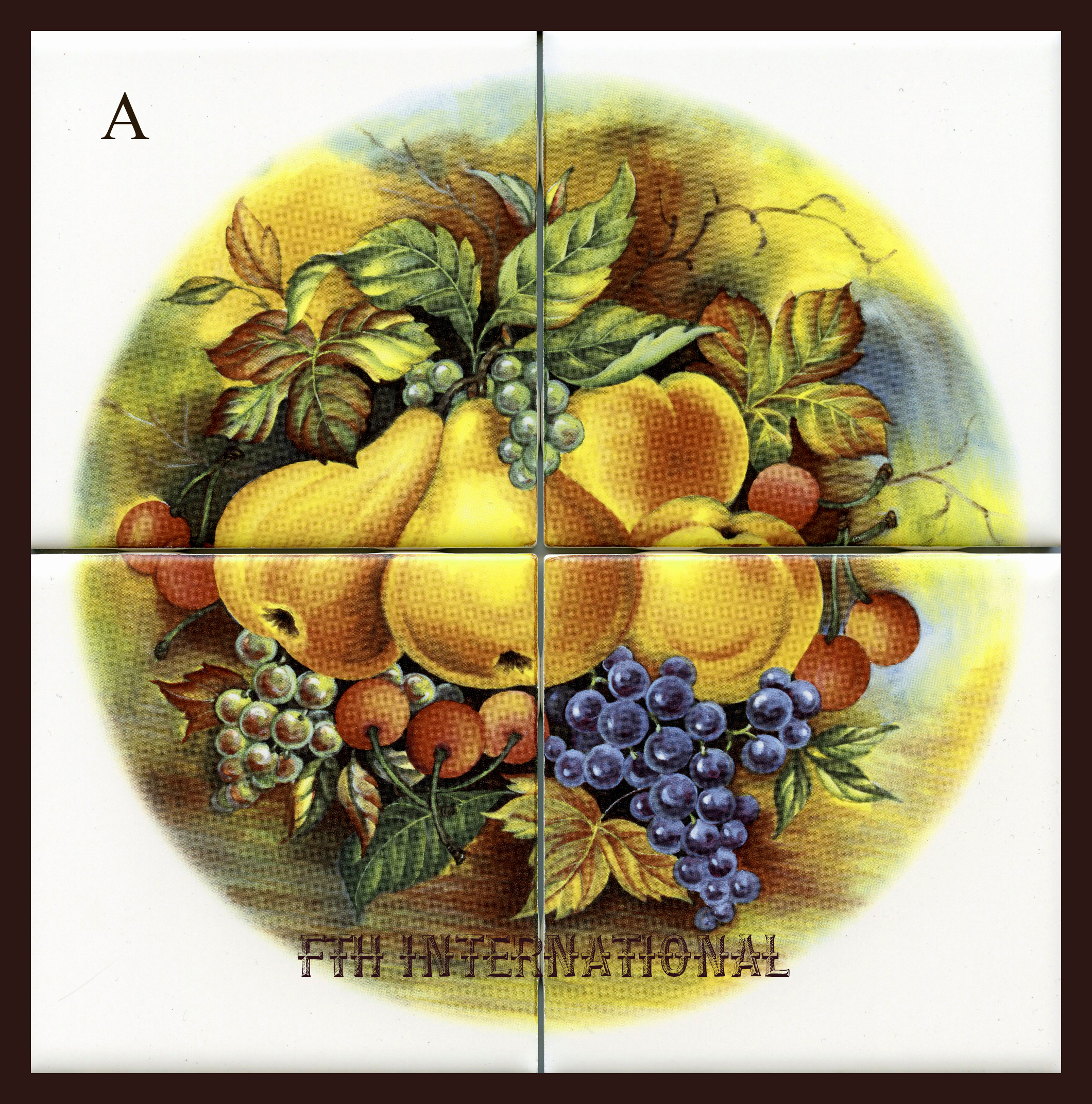 Mural 4 inch mixed fruit a ceramic 4 tile mural k09a for Ceramic mural designs