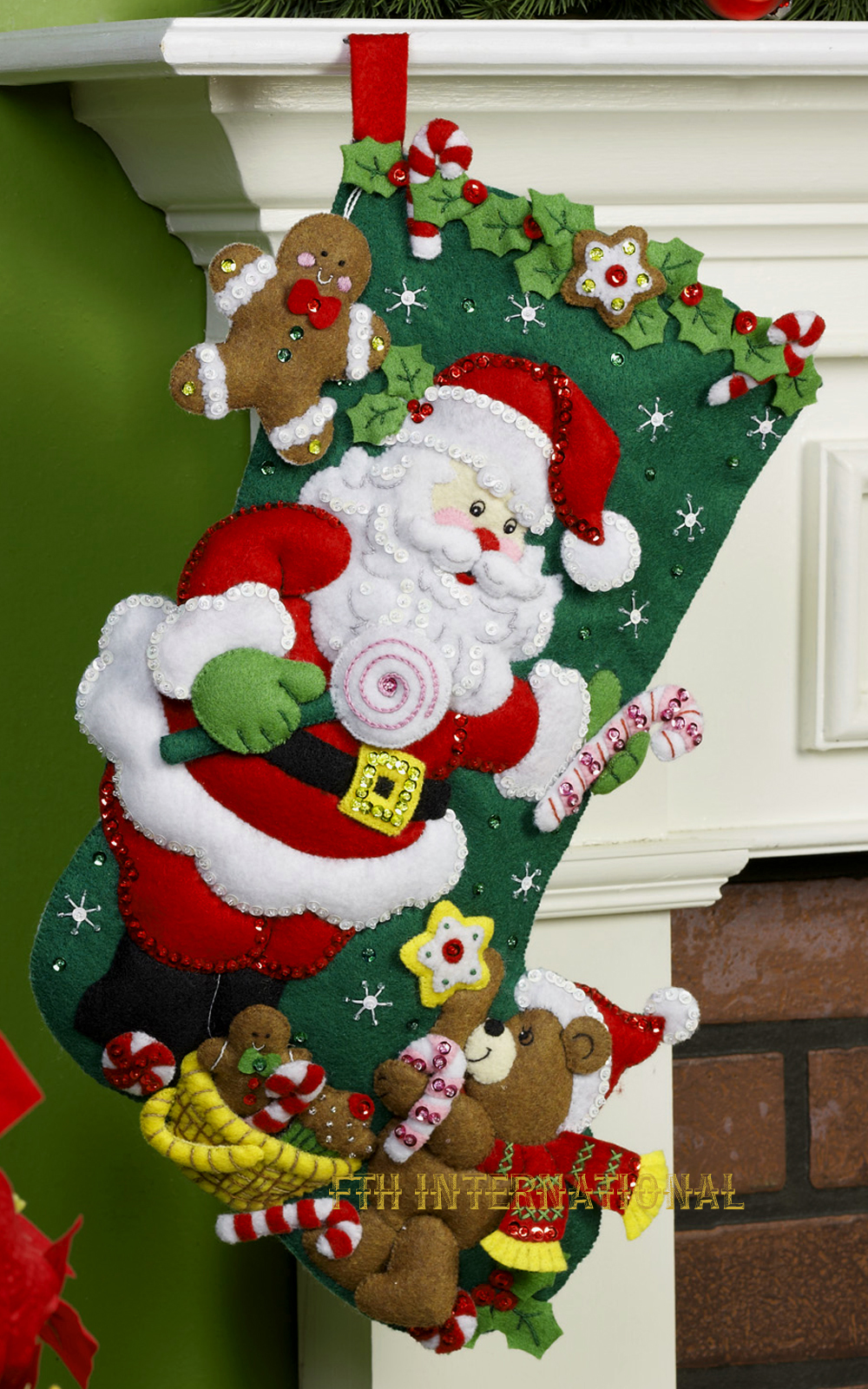 Santa Amp Teddy Bear 18 Quot Bucilla Felt Christmas Stocking Kit
