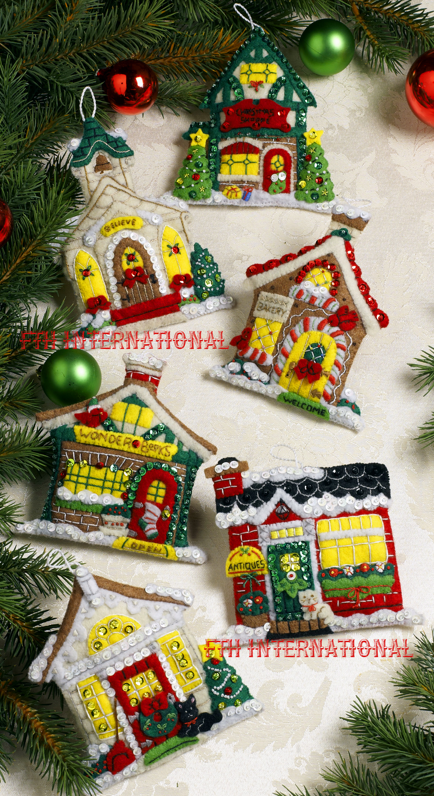 breitville christmas village bucilla felt ornament kit 86387 - Christmas Tree Decorating Ensemble Kits