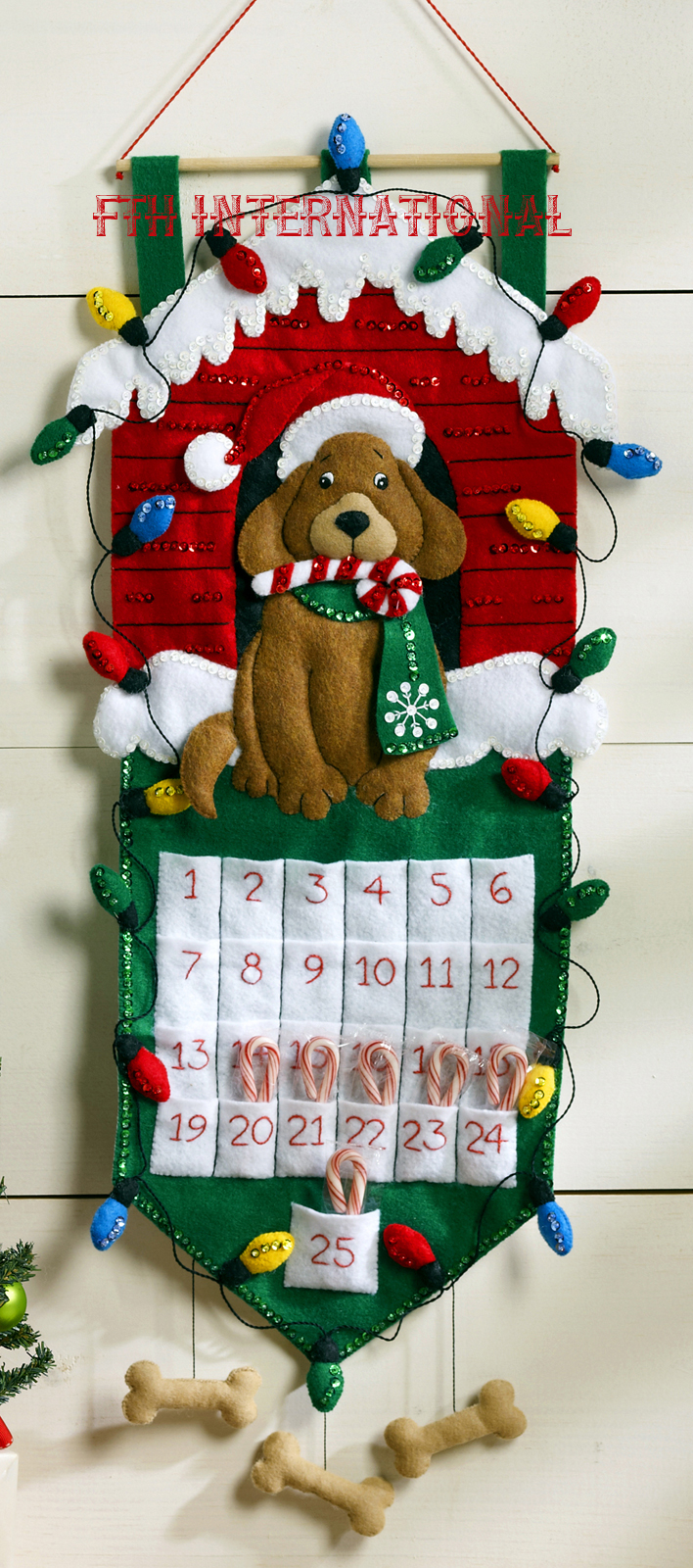Heigh Ho Santa Bucilla Felt Christmas Advent Calendar Wall