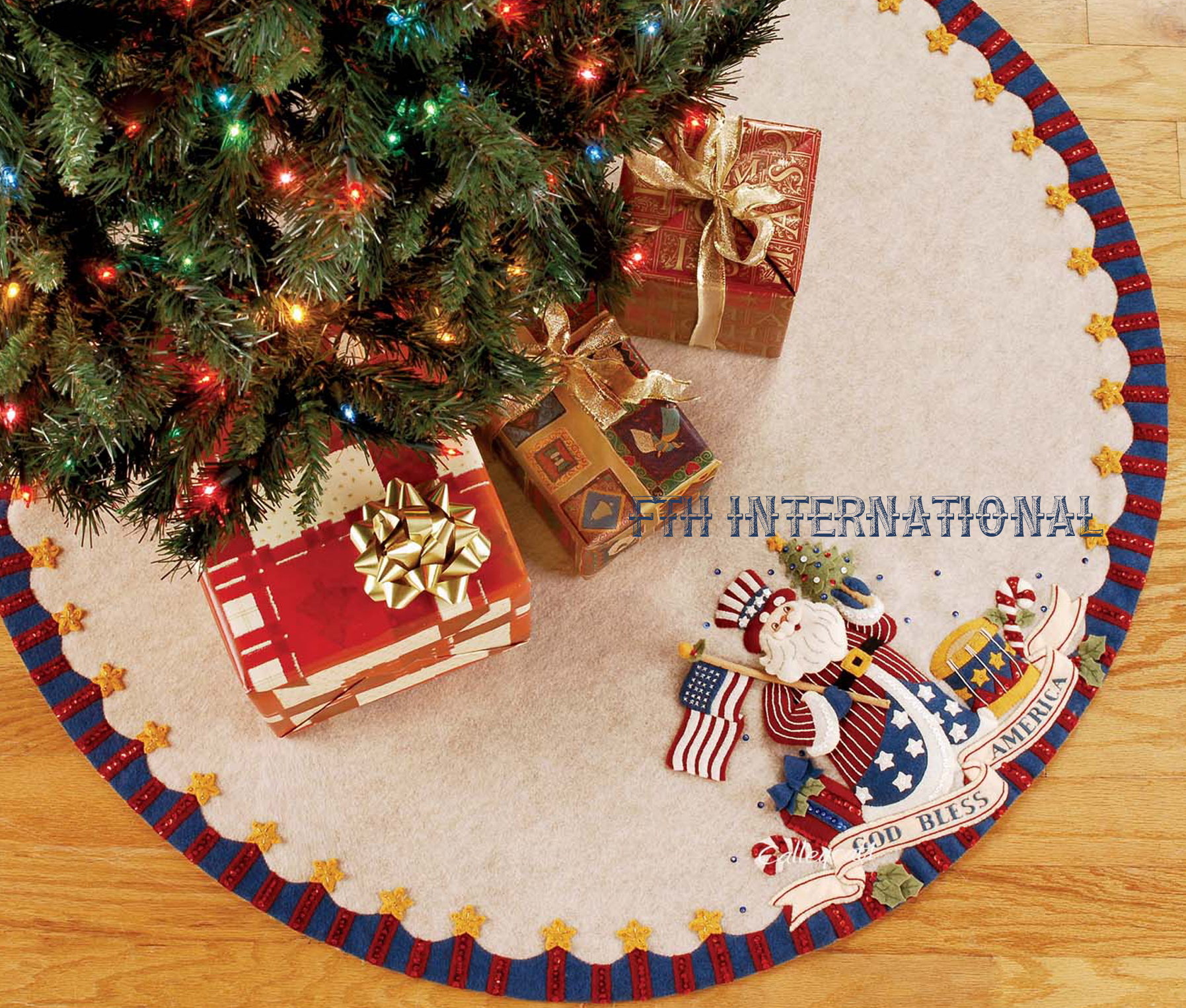 patriotic santa 43 bucilla felt christmas tree skirt kit 85447