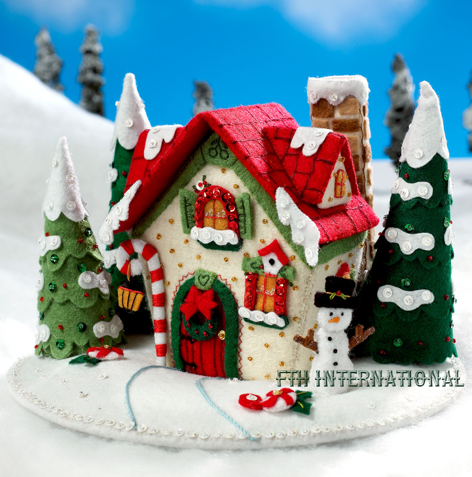 Mary s snow cottage bucilla felt christmas d centerpiece