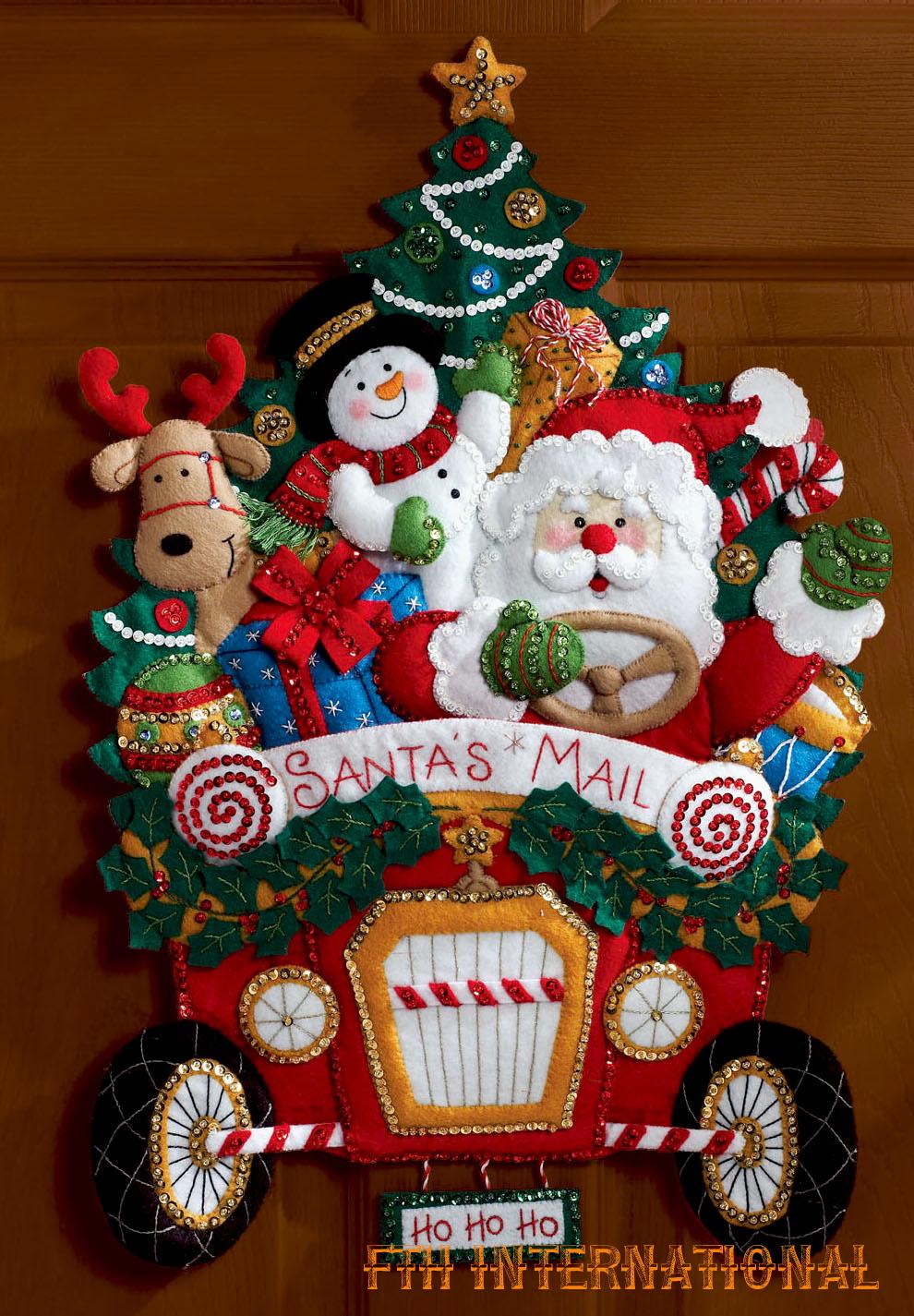 Santa S Christmas Mail Truck Bucilla Felt Wall Hanging Kit