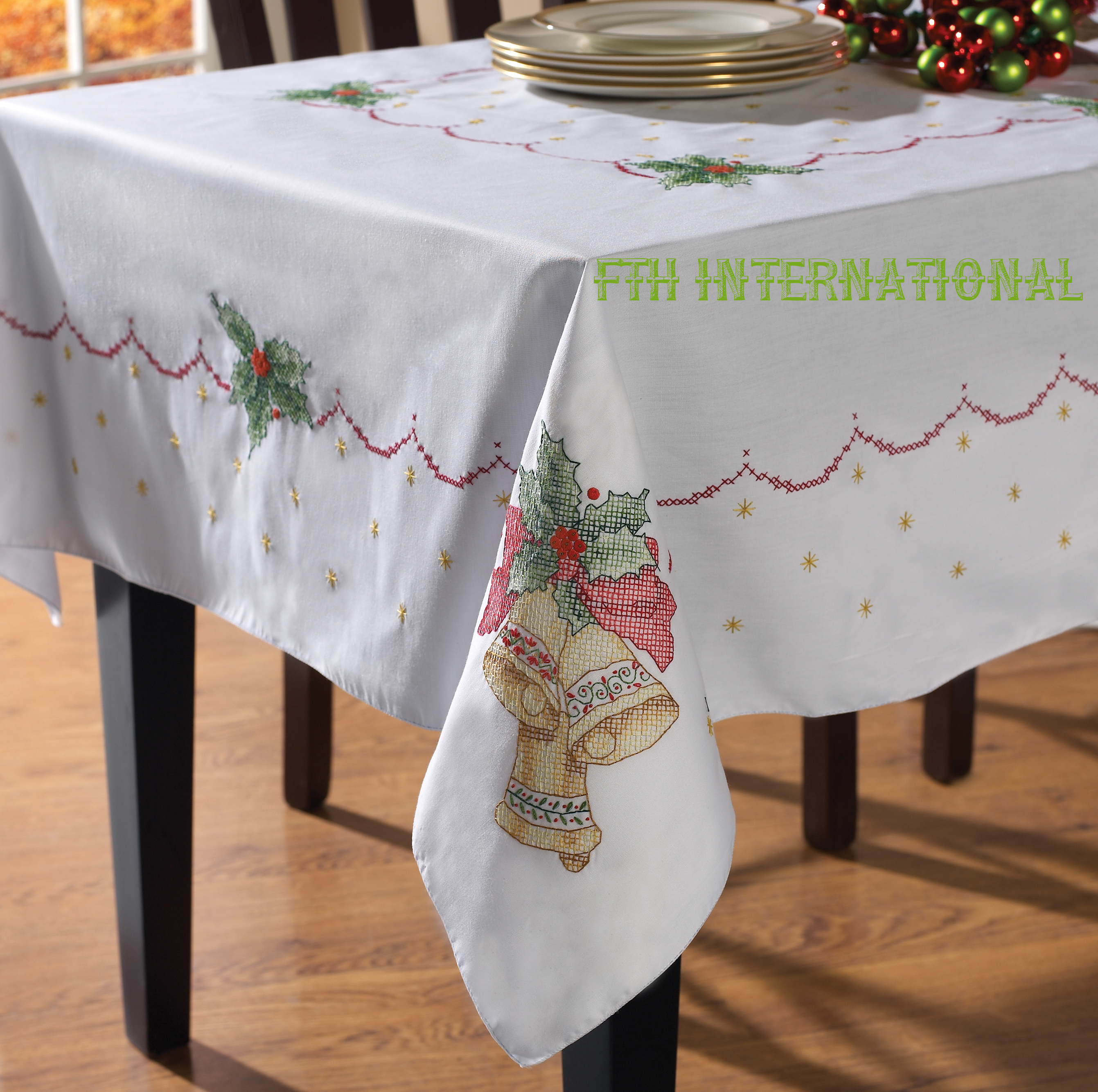 Christmas Bells Tablecloth 52 X 70 Bucilla Stamped Cross Stitch
