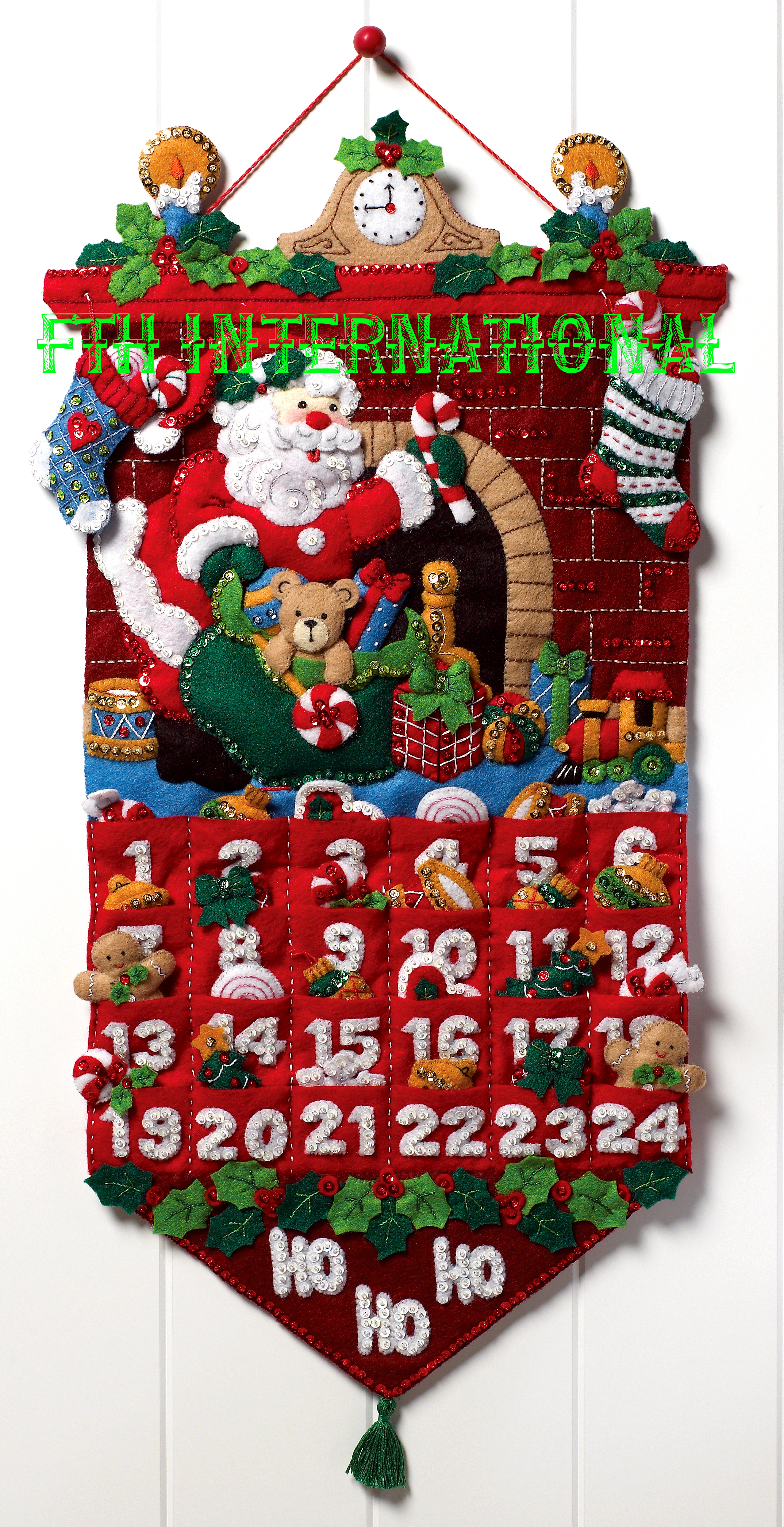 Advent Calendar Diy Kit : Heigh ho santa bucilla felt christmas advent calendar wall
