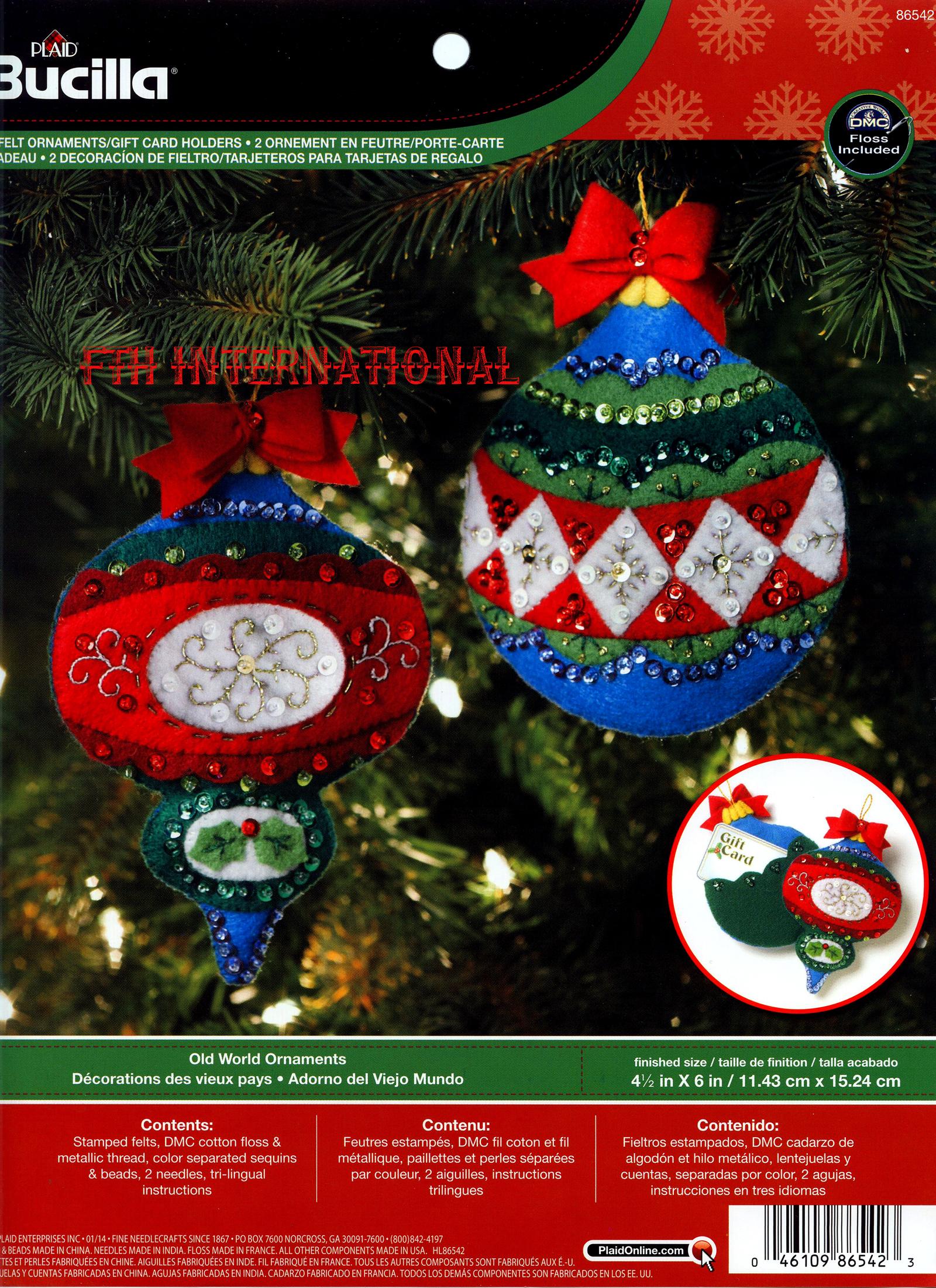Old World Ornament Gift Card Holders 2 pce Bucilla Felt Christmas ...