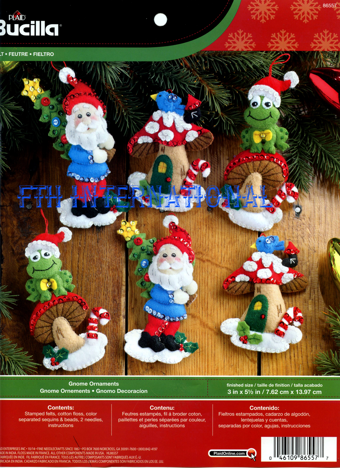 bucilla gnome santa 6 piece felt christmas ornament - Gnome Christmas Decorations