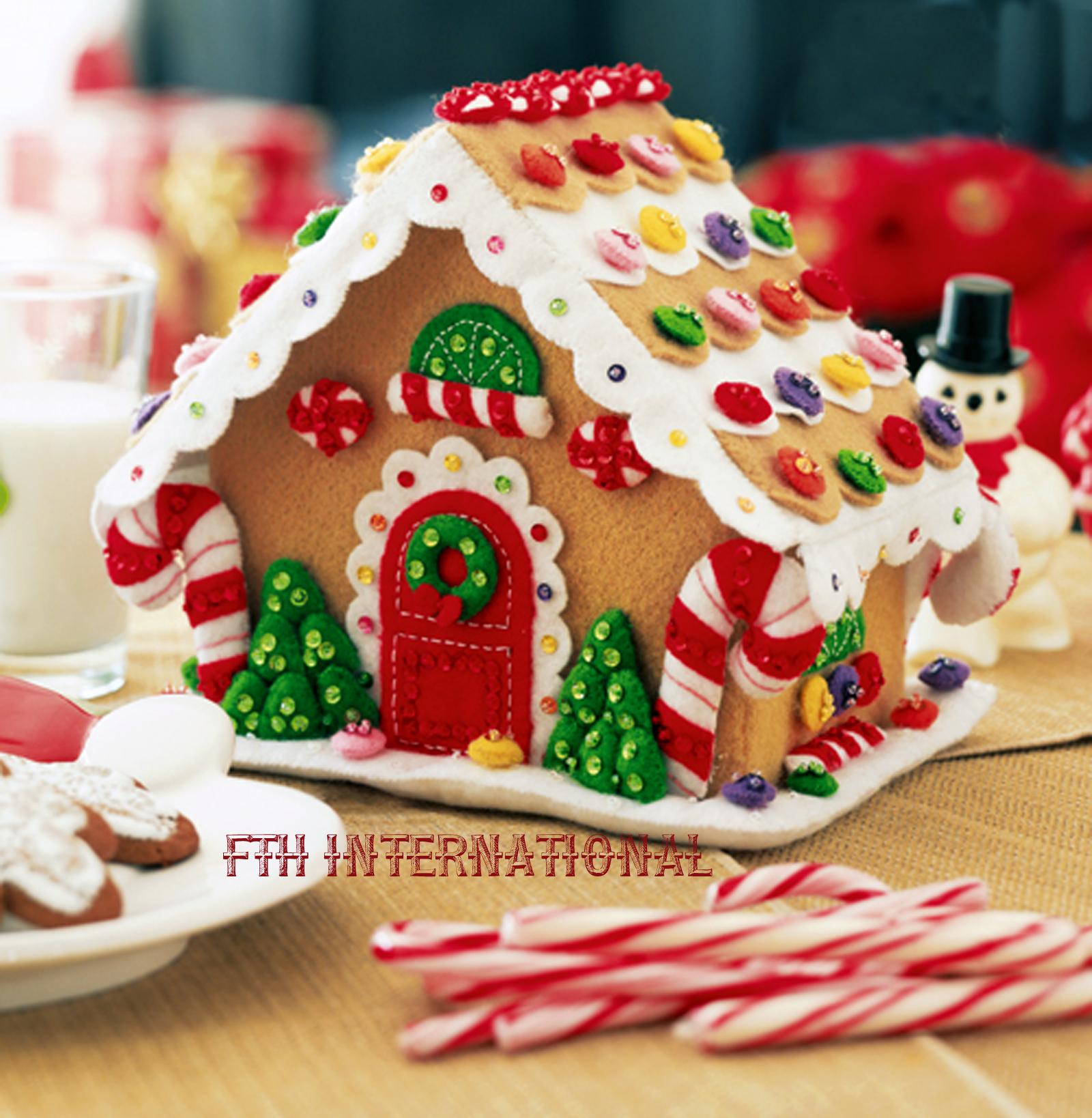 Christmas Gingerbread House Kit.Gingerbread House Bucilla Felt Christmas 3d Home Decor Kit 85261