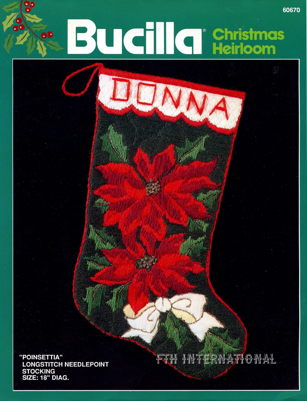 Needlepoint Christmas Stocking Kit.Poinsettia 18 Bucilla Longstitch Needlepoint Christmas Stocking Kit 60670