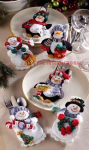86247FCWM2 Snowman Penquin SilverwareC