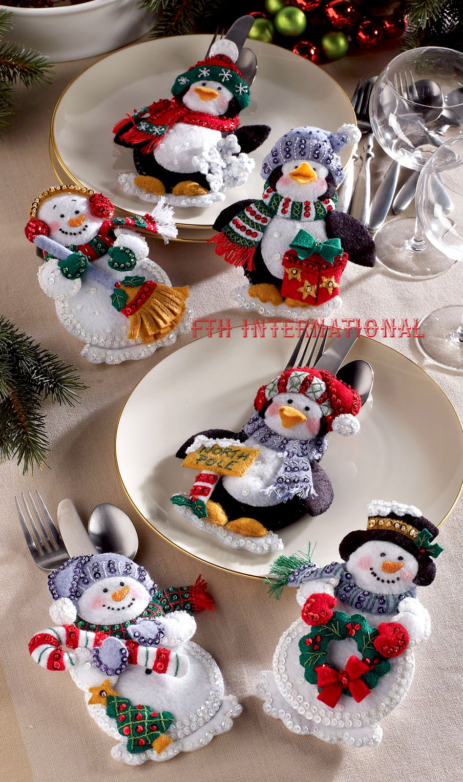 snowman penguins 6 pce bucilla felt christmas silverware holder - Christmas Silverware Holders
