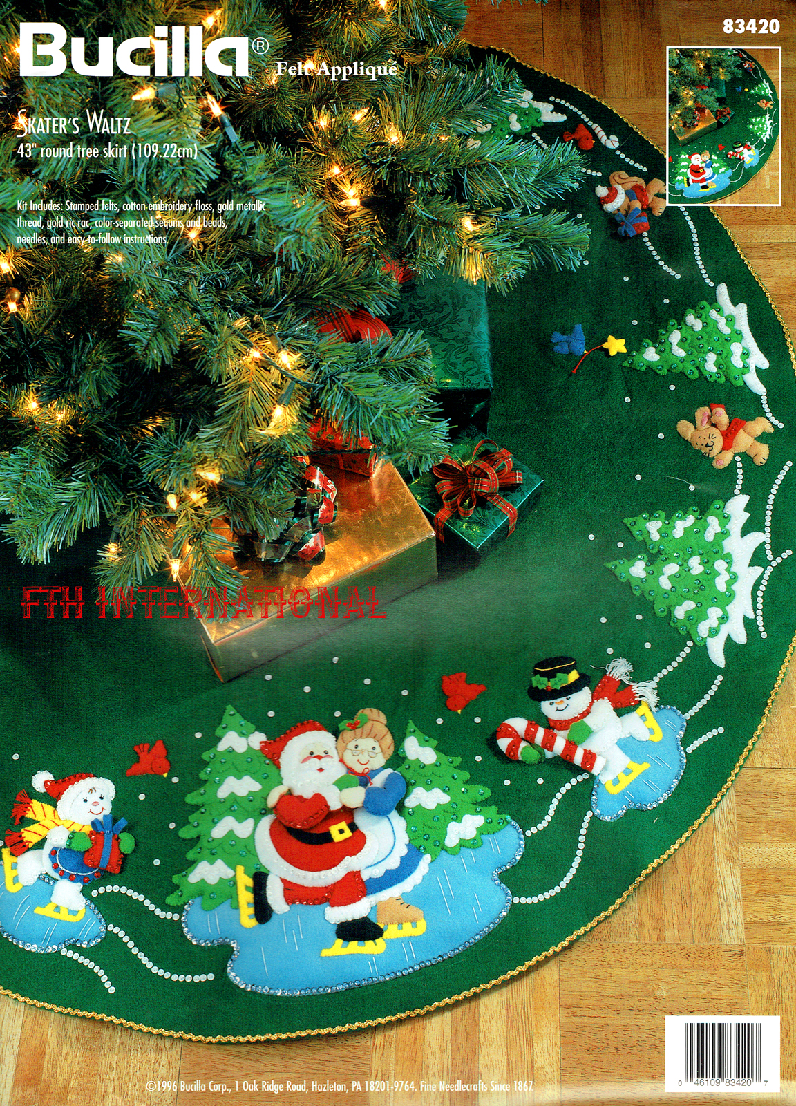Skater S Waltz 43 Bucilla Felt Christmas Tree Skirt Kit 83420