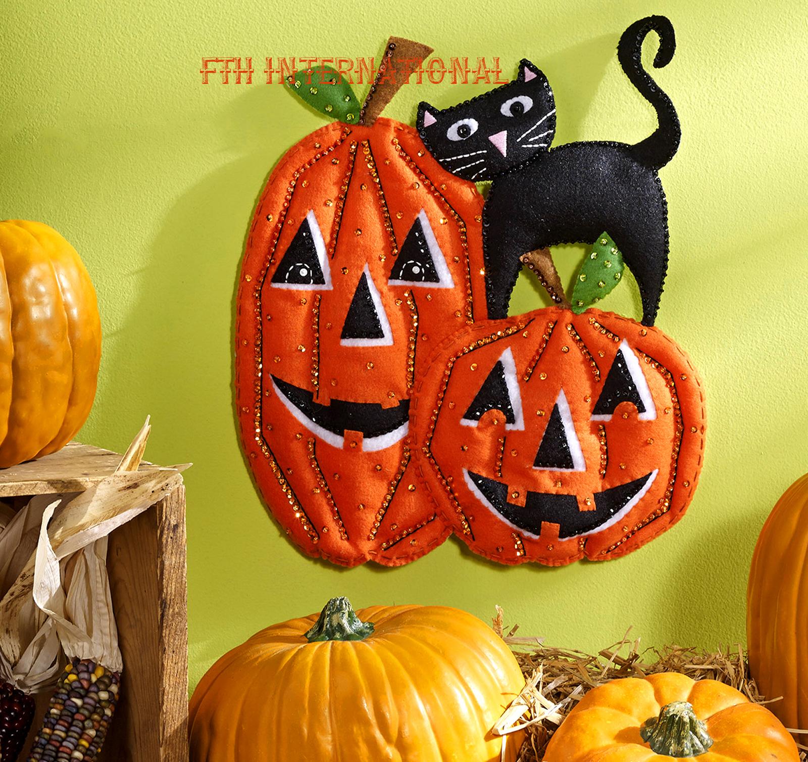 pumpkins ~ bucilla felt halloween holiday wall hanging kit #86692