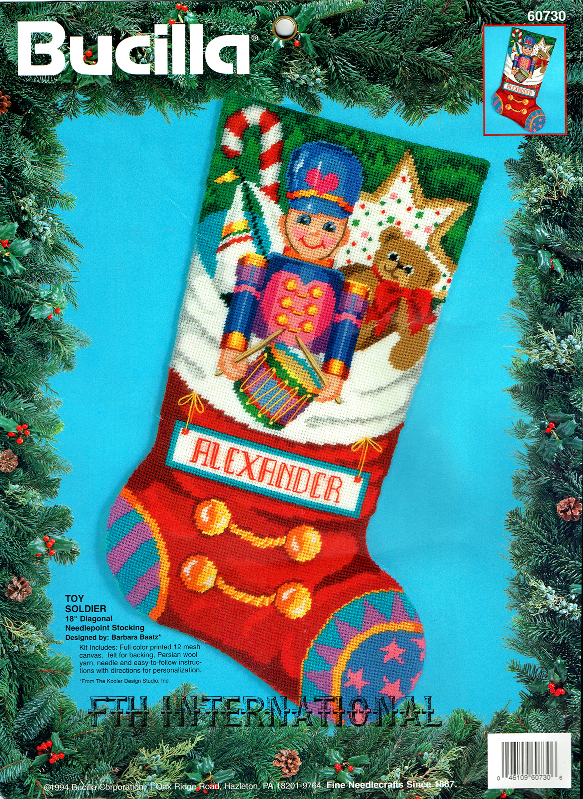 60730FCWMR1 Toy Soldier Stocking Front