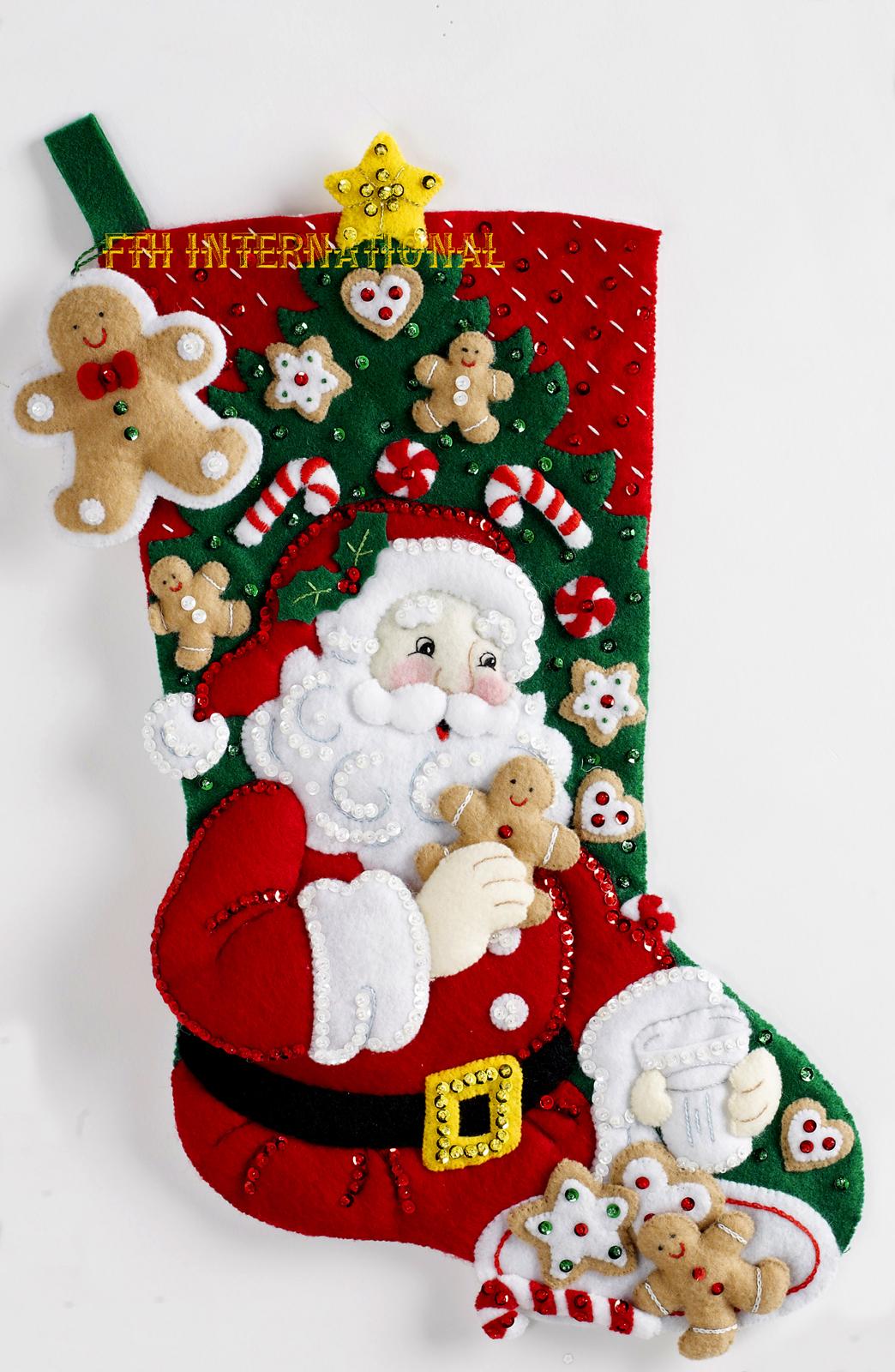 Snack Time 18 Bucilla Felt Christmas Stocking Kit 86655 Santa Cookies