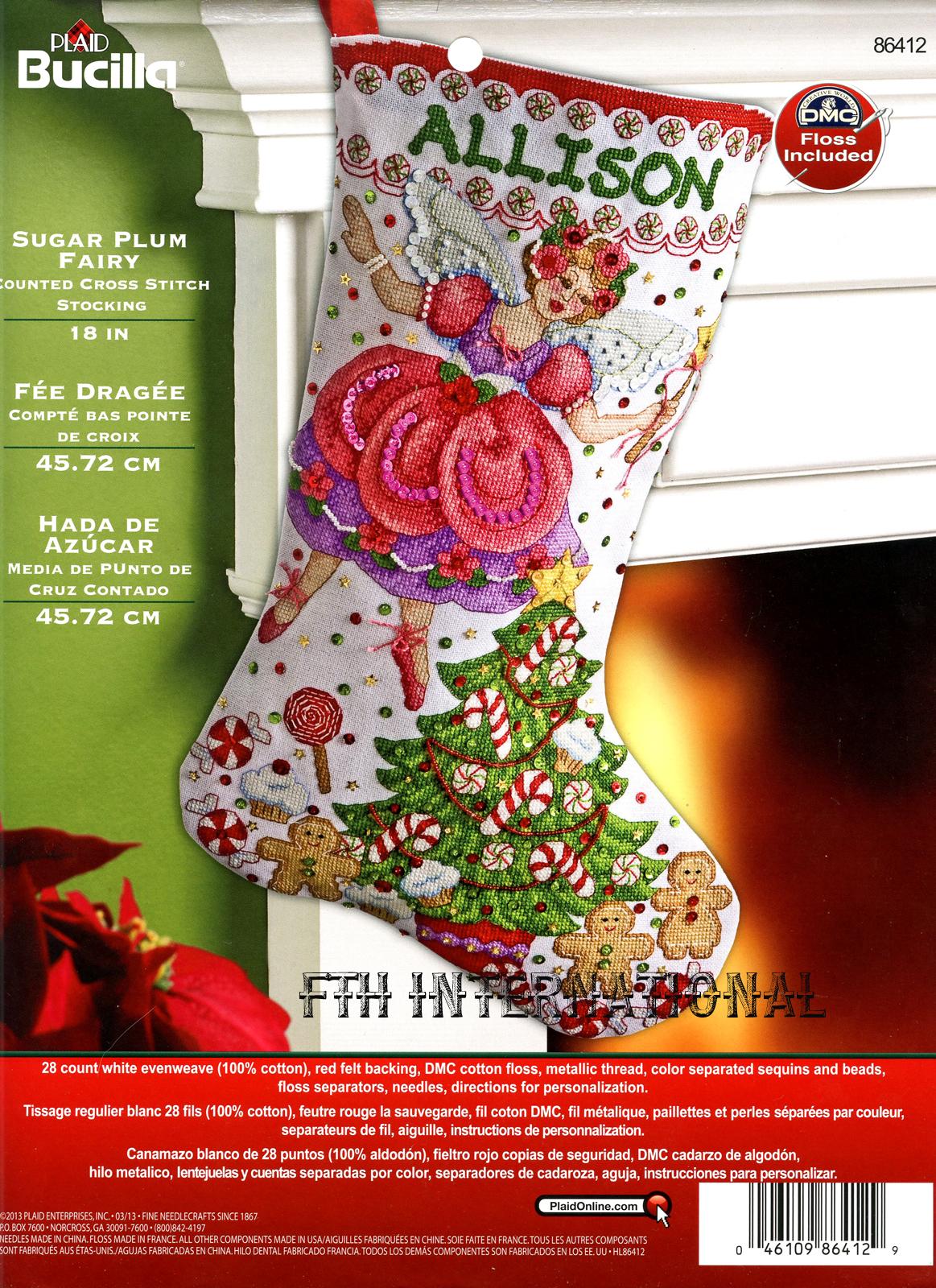 Sugar Plum Fairy 18″ Bucilla Christmas Counted Cross Stitch Stocking ...