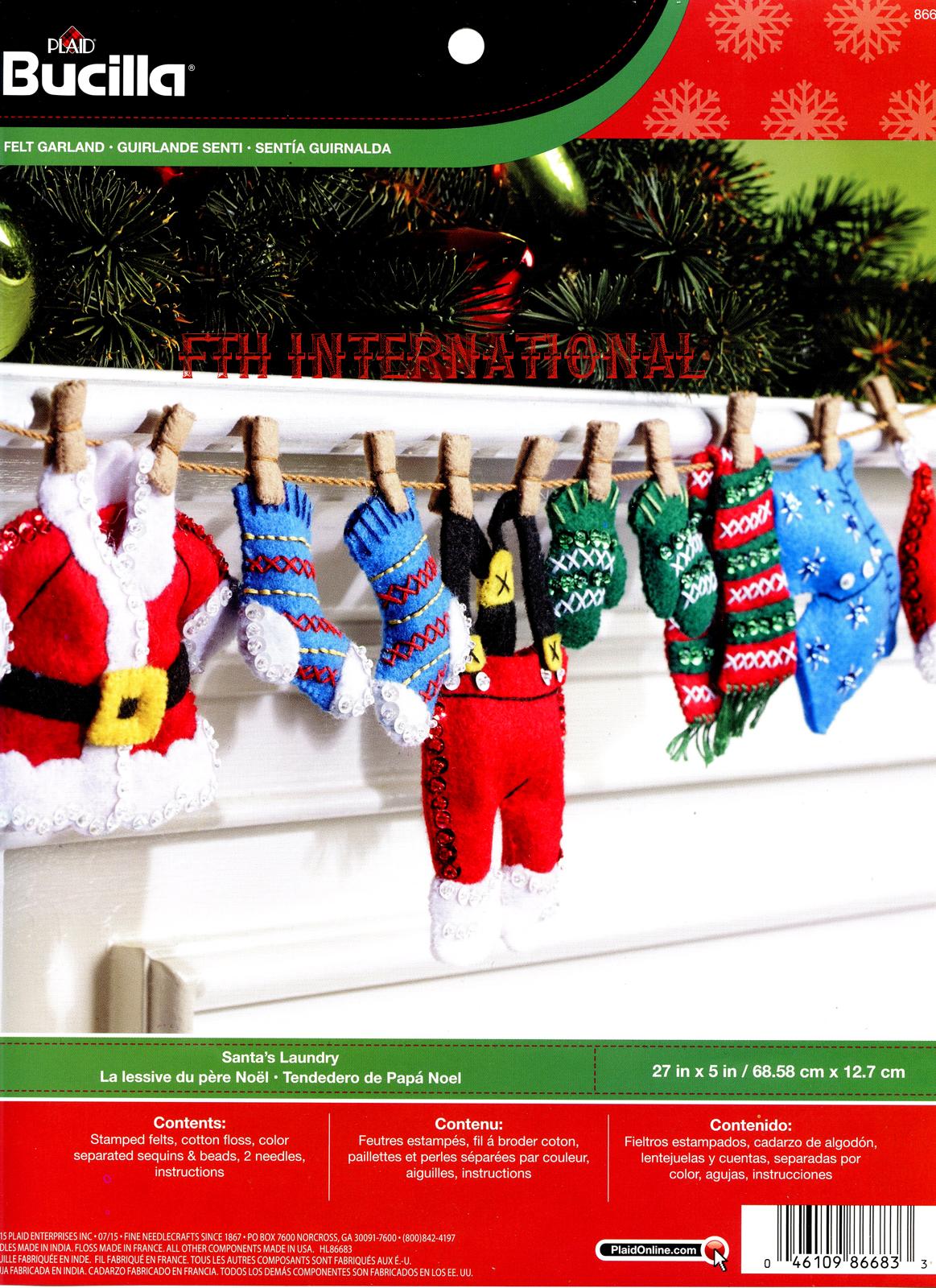 Santa S Laundry Bucilla Felt Christmas Garland Kit 86683