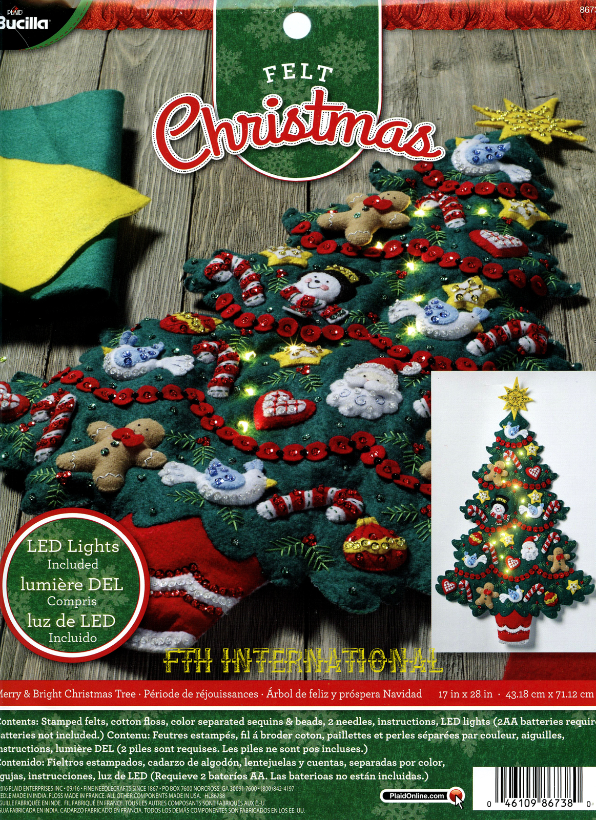 Merry bright christmas tree bucilla felt wall hanging kit 86738 description aloadofball