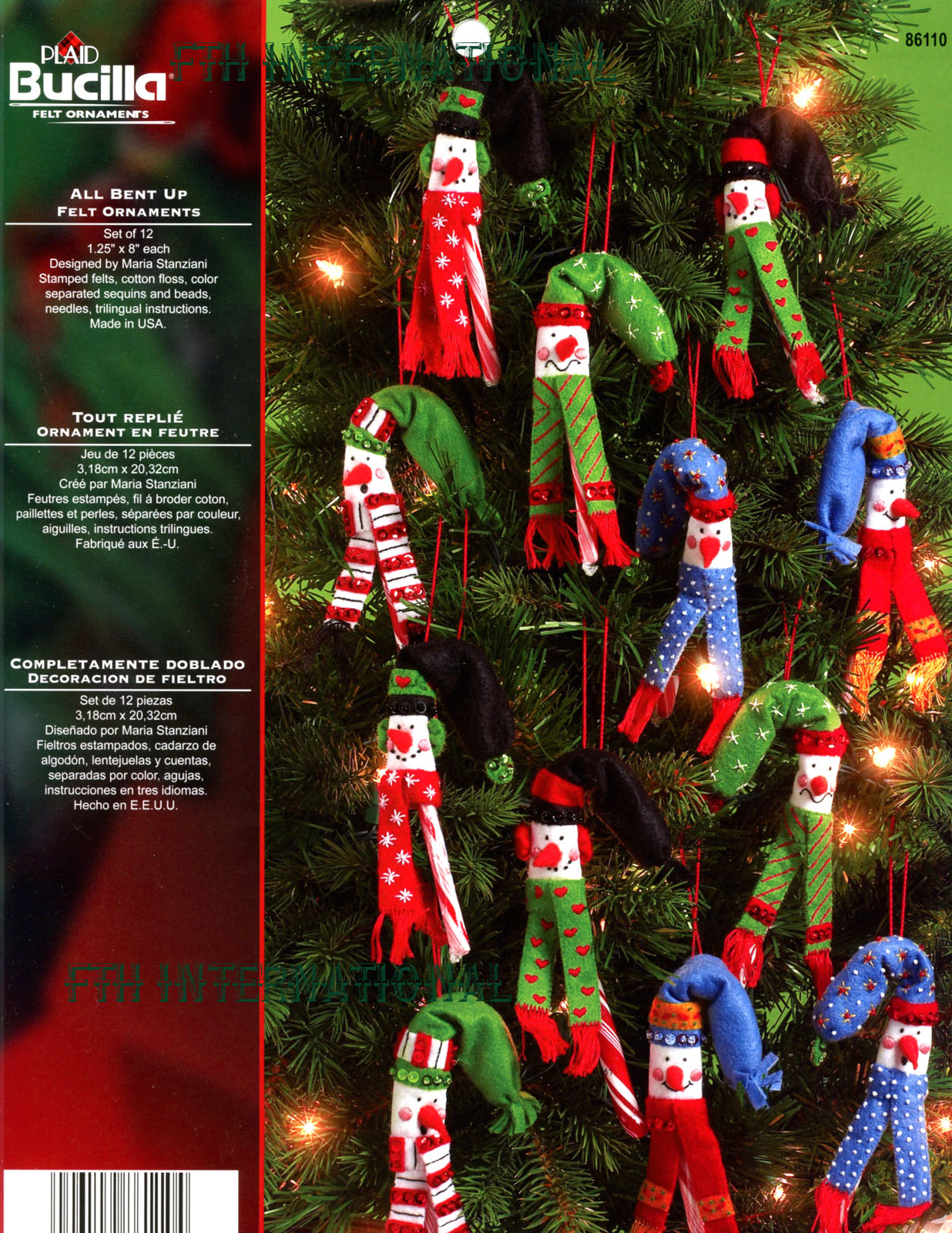 Bucilla All Bent Up 12 Pce Felt Christmas Ornament Kit 86110 Snowmen Candy Cane