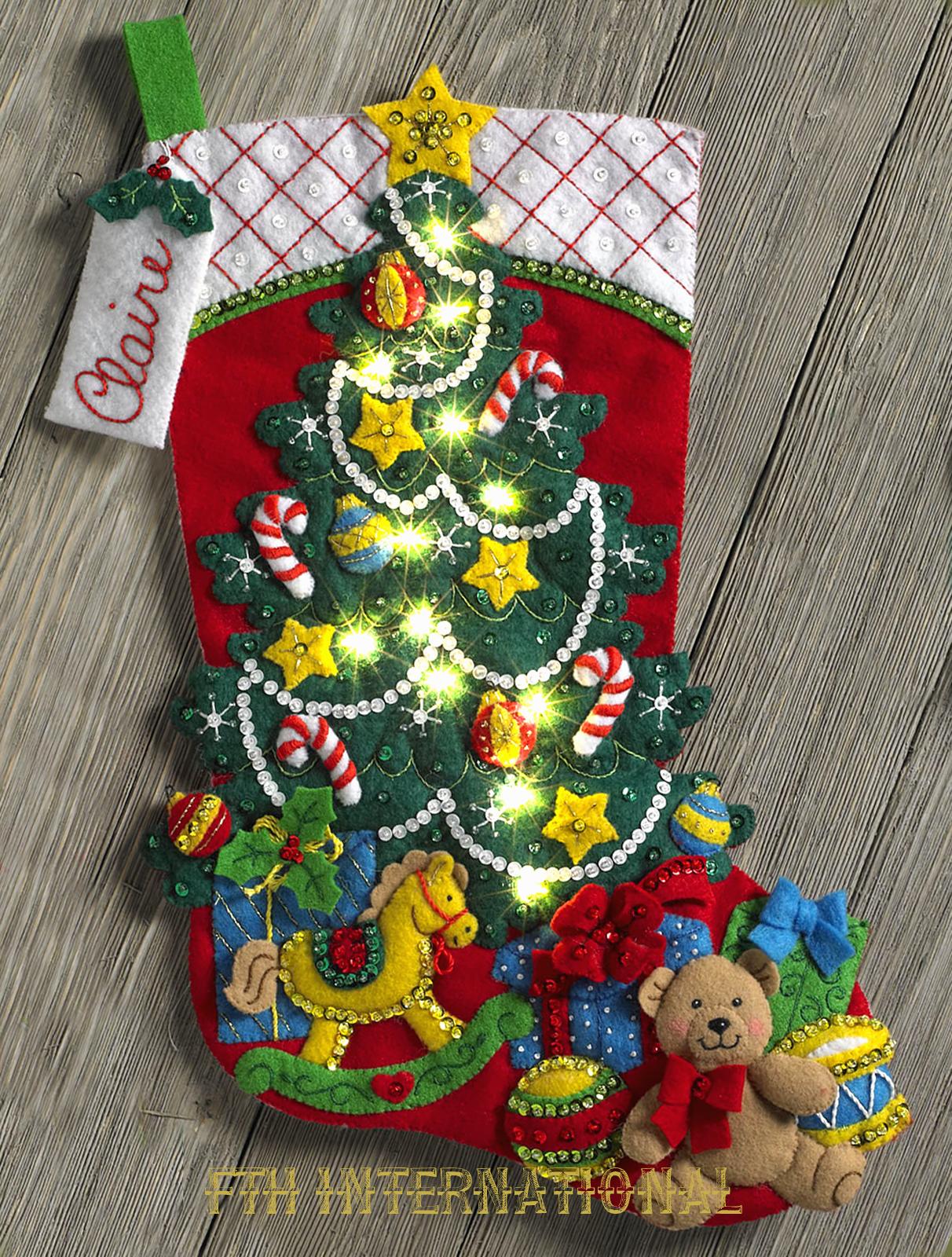 bucilla christmas tree surprise 18 felt stocking kit 86710 real lights toys - Christmas Tree Toy Decorations
