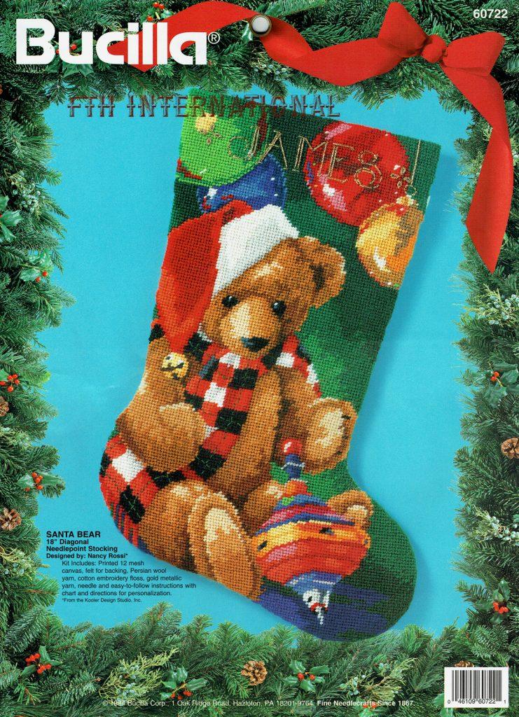 Needlepoint Christmas Stockings.Santa Bear 18 Bucilla Needlepoint Christmas Stocking Kit 60722 Nancy Rossi Fth International Sales Ltd