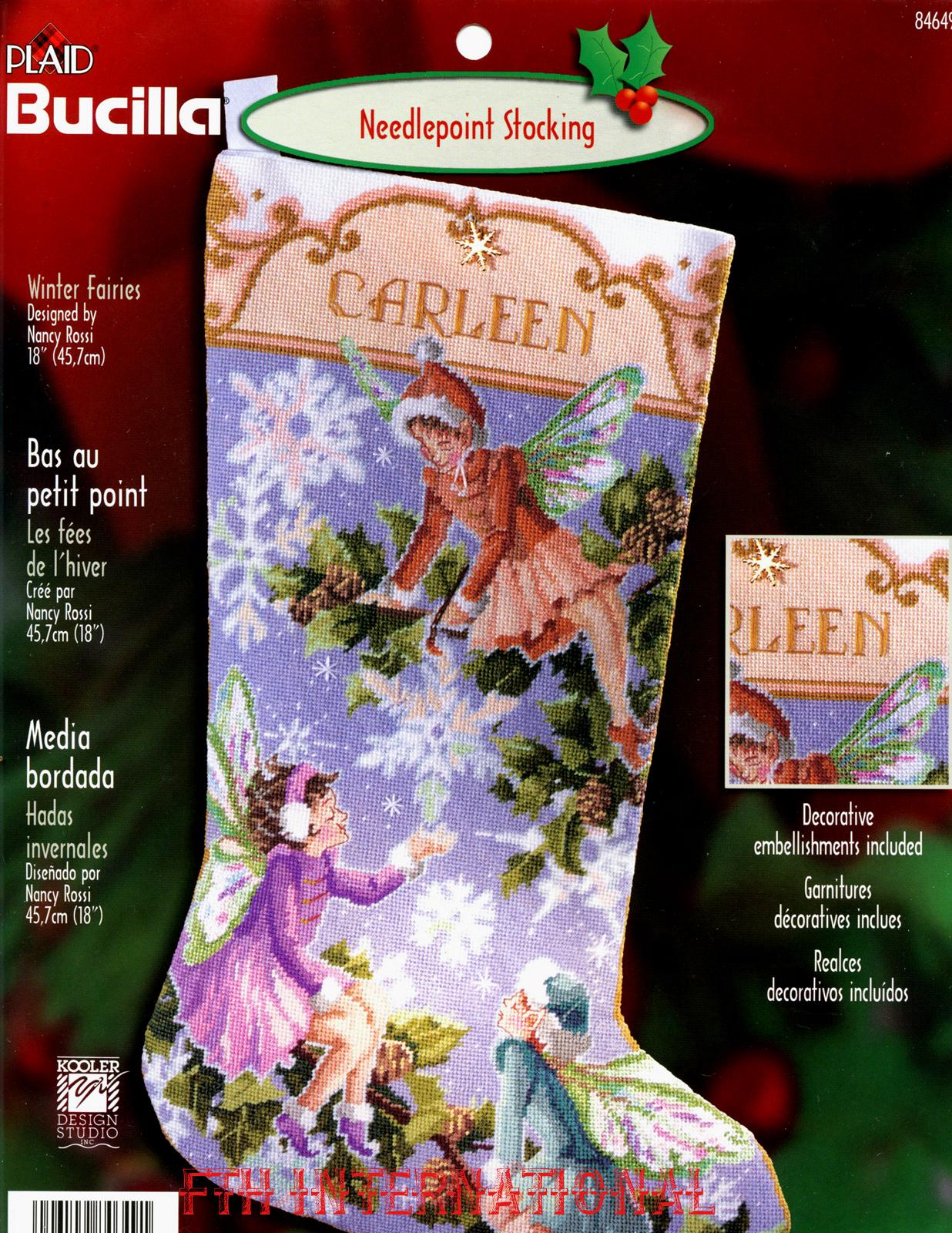 Winter Fairies 18″ Bucilla Needlepoint Christmas Stocking Kit #84649